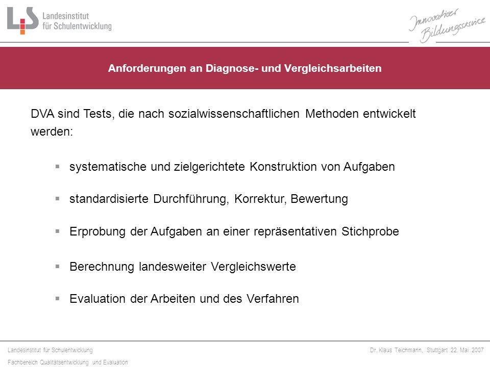 Landesinstitut für Schulentwicklung Fachbereich Qualitätsentwicklung und Evaluation Dr. Klaus Teichmann, Stuttgart 22. Mai 2007 Anforderungen an Diagn