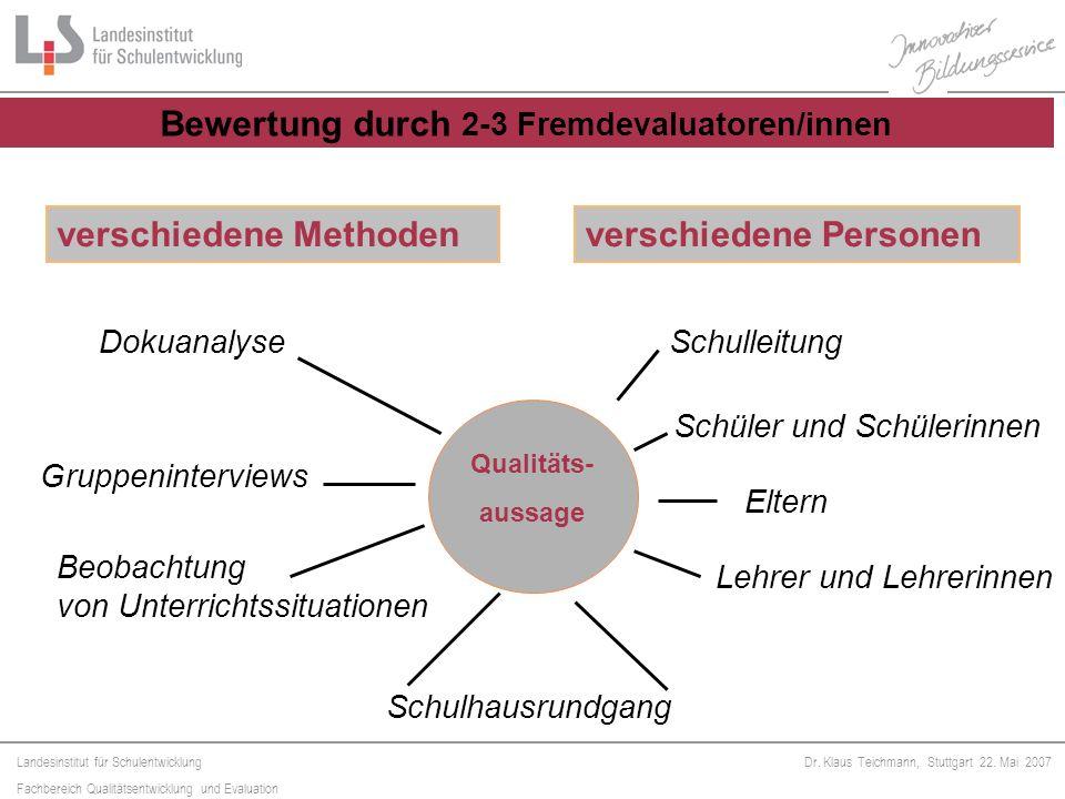 Landesinstitut für Schulentwicklung Fachbereich Qualitätsentwicklung und Evaluation Dr. Klaus Teichmann, Stuttgart 22. Mai 2007 Qualitäts- aussage ver