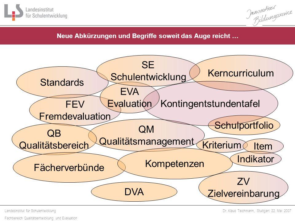 Landesinstitut für Schulentwicklung Fachbereich Qualitätsentwicklung und Evaluation Dr. Klaus Teichmann, Stuttgart 22. Mai 2007 FEV Fremdevaluation St