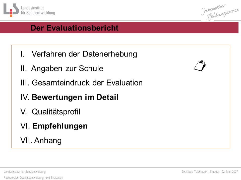 Landesinstitut für Schulentwicklung Fachbereich Qualitätsentwicklung und Evaluation Dr. Klaus Teichmann, Stuttgart 22. Mai 2007 I. Verfahren der Daten