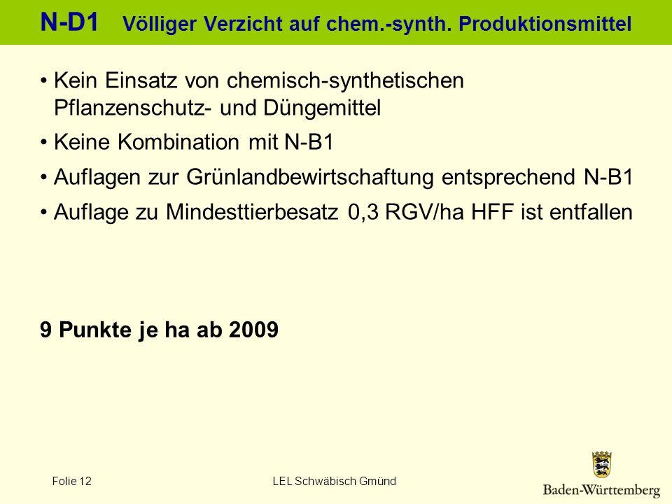 Folie 12 LEL Schwäbisch Gmünd N-D1 Völliger Verzicht auf chem.-synth. Produktionsmittel 9 Punkte je ha ab 2009 Kein Einsatz von chemisch-synthetischen