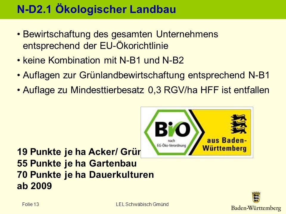 Folie 13 LEL Schwäbisch Gmünd N-D2.1 Ökologischer Landbau 19 Punkte je ha Acker/ Grünland 55 Punkte je ha Gartenbau 70 Punkte je ha Dauerkulturen ab 2