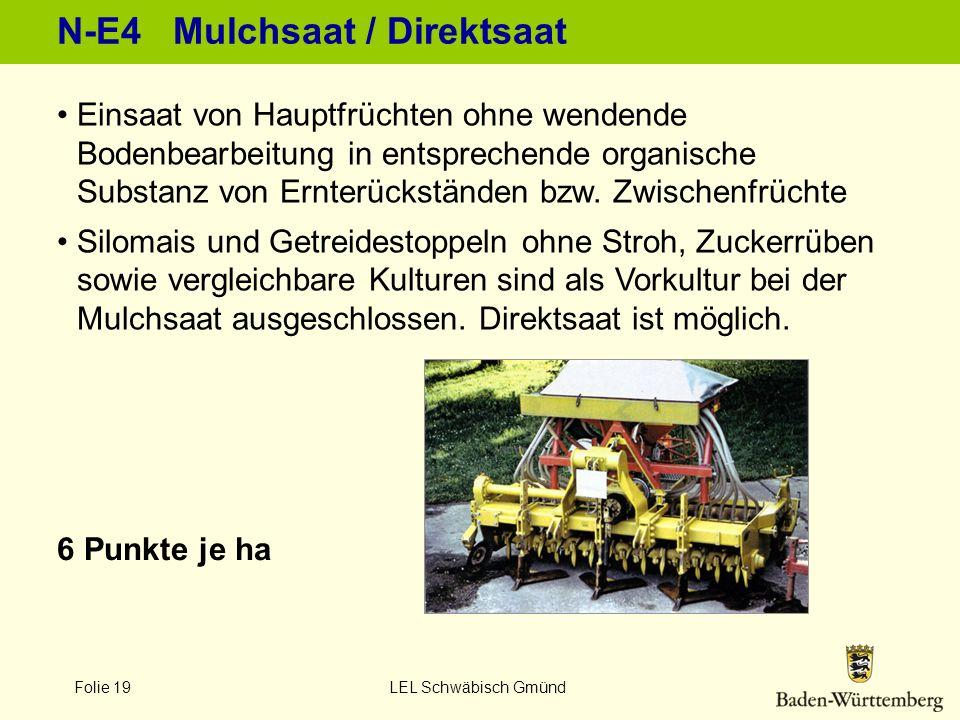 Folie 19 LEL Schwäbisch Gmünd N-E4 Mulchsaat / Direktsaat 6 Punkte je ha Einsaat von Hauptfrüchten ohne wendende Bodenbearbeitung in entsprechende org