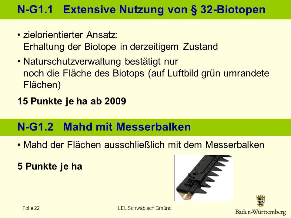 Folie 22 LEL Schwäbisch Gmünd N-G1.1 Extensive Nutzung von § 32-Biotopen 15 Punkte je ha ab 2009 5 Punkte je ha zielorientierter Ansatz: Erhaltung der