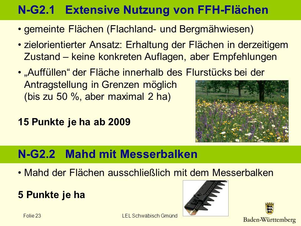 Folie 23 LEL Schwäbisch Gmünd N-G2.1 Extensive Nutzung von FFH-Flächen 15 Punkte je ha ab 2009 5 Punkte je ha gemeinte Flächen (Flachland- und Bergmäh