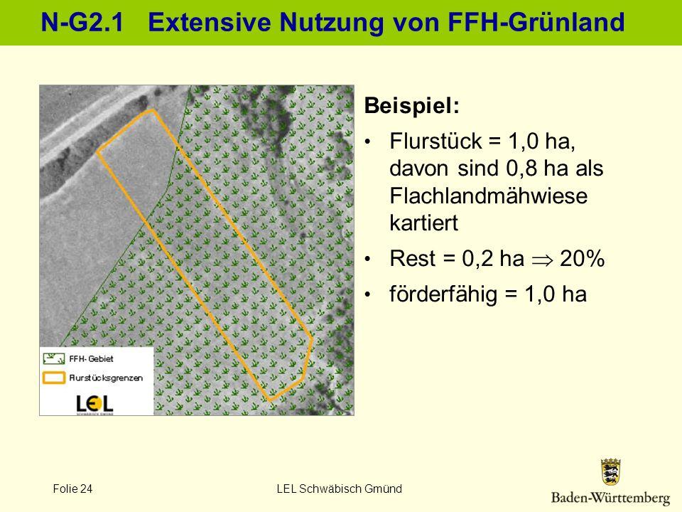 Folie 24 LEL Schwäbisch Gmünd N-G2.1 Extensive Nutzung von FFH-Grünland Beispiel: Flurstück = 1,0 ha, davon sind 0,8 ha als Flachlandmähwiese kartiert