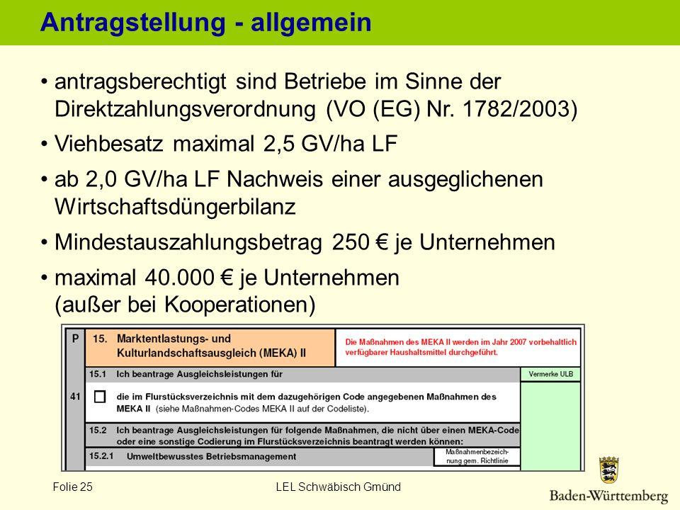 Folie 25 LEL Schwäbisch Gmünd Antragstellung - allgemein antragsberechtigt sind Betriebe im Sinne der Direktzahlungsverordnung (VO (EG) Nr. 1782/2003)