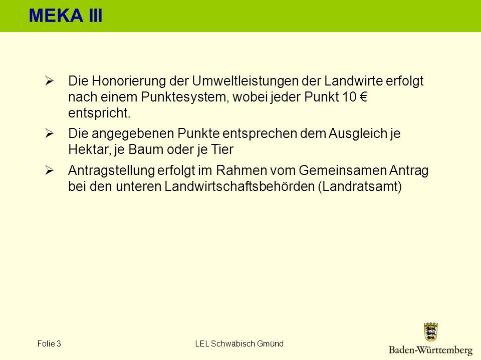 Folie 3 LEL Schwäbisch Gmünd MEKA III Die Honorierung der Umweltleistungen der Landwirte erfolgt nach einem Punktesystem, wobei jeder Punkt 10 entspri