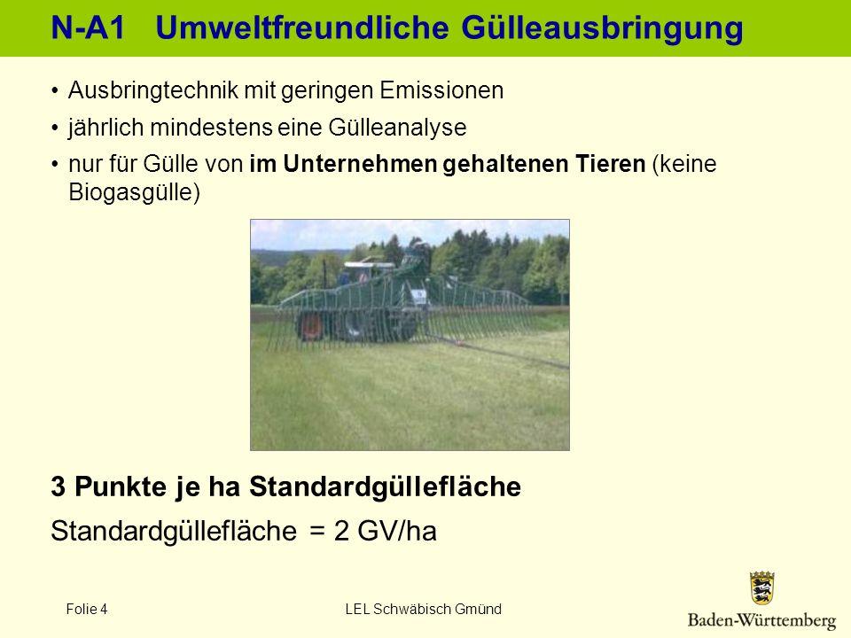 Folie 4 LEL Schwäbisch Gmünd N-A1 Umweltfreundliche Gülleausbringung Ausbringtechnik mit geringen Emissionen jährlich mindestens eine Gülleanalyse nur