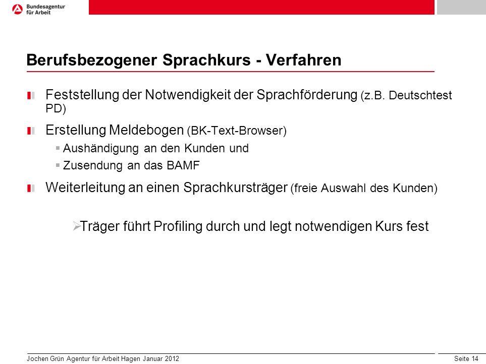 Seite 14 Berufsbezogener Sprachkurs - Verfahren Feststellung der Notwendigkeit der Sprachförderung (z.B.