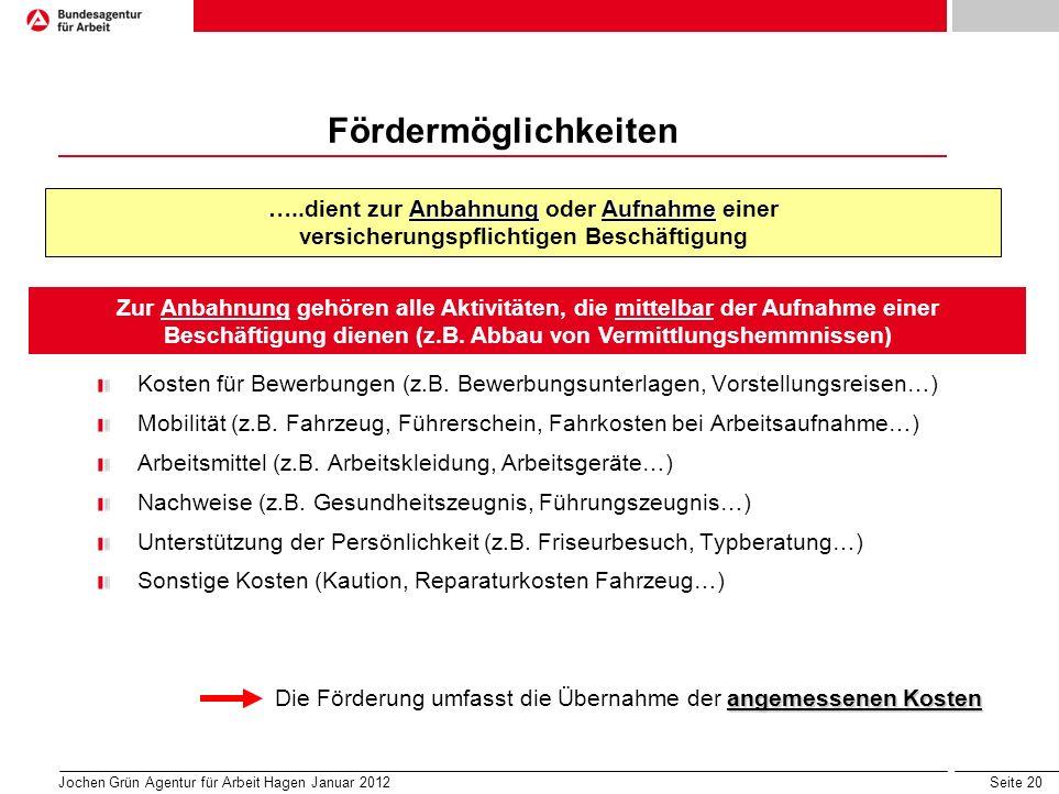 Seite 20 Jochen Grün Agentur für Arbeit Hagen Januar 2012 Fördermöglichkeiten Kosten für Bewerbungen (z.B.