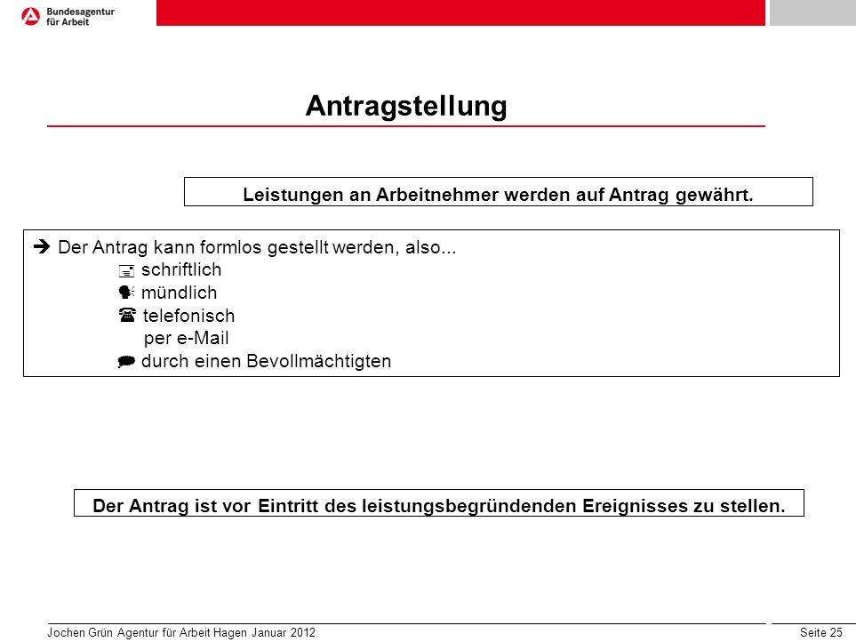 Seite 25 Jochen Grün Agentur für Arbeit Hagen Januar 2012 Antragstellung Leistungen an Arbeitnehmer werden auf Antrag gewährt.