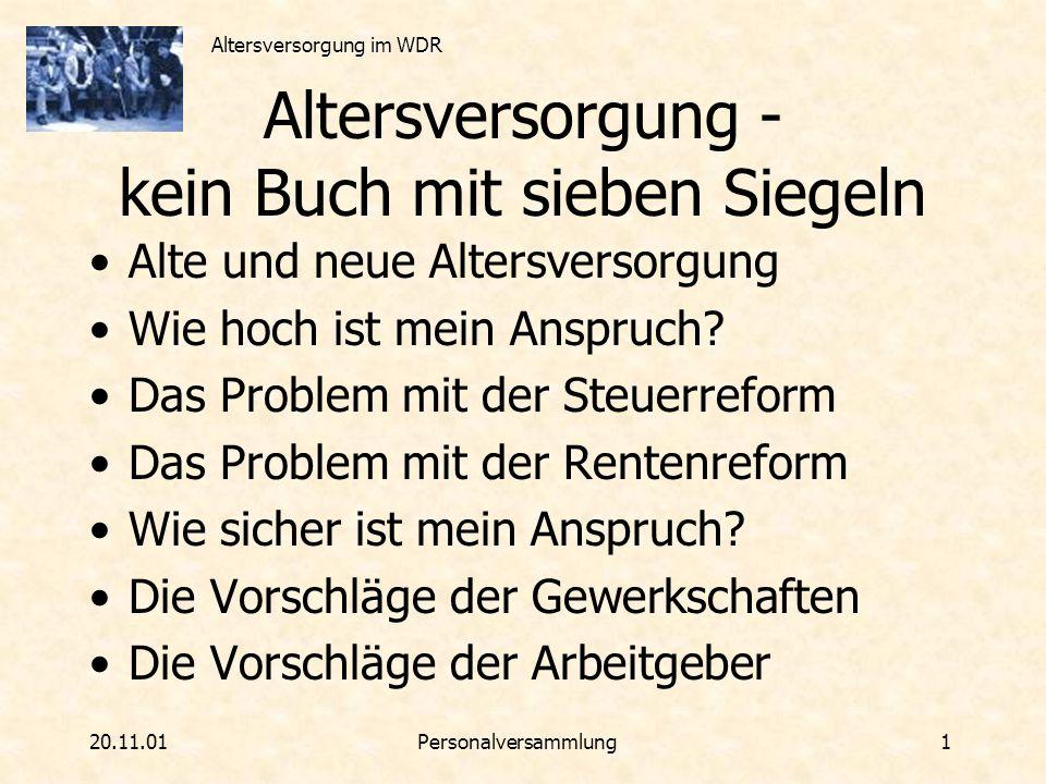 Altersversorgung im WDR 20.11.01Personalversammlung 2 DV98 und VTV neu DienstVereinbarung zwischen Intendant und Personalrat von 1998 (=letzte Änderung) Gilt für alle, die bis zum 31.12.1993 beim WDR festangestellt wurden VersorgungsTarif- Vertrag der Gewerkschaften mit allen ARD-Anstalten und dem ZDF von 1997 Gilt für alle, die ab dem 1.1.1994 beim WDR festangestellt wurden