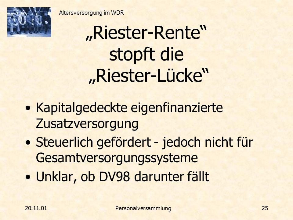 Altersversorgung im WDR 20.11.01Personalversammlung 25 Riester-Rente stopft die Riester-Lücke Kapitalgedeckte eigenfinanzierte Zusatzversorgung Steuer
