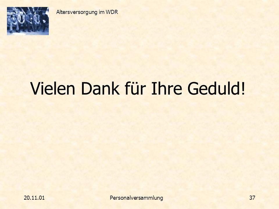 Altersversorgung im WDR 20.11.01Personalversammlung 37 Vielen Dank für Ihre Geduld!
