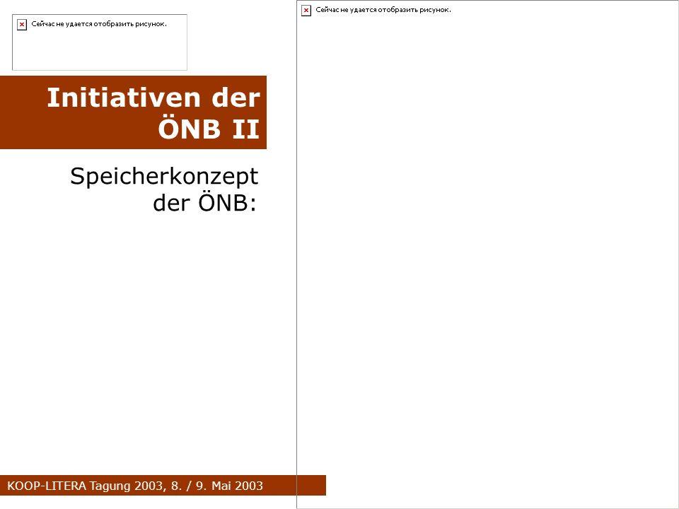 KOOP-LITERA Tagung 2003, 8. / 9. Mai 2003 Speicherkonzept der ÖNB: Initiativen der ÖNB II