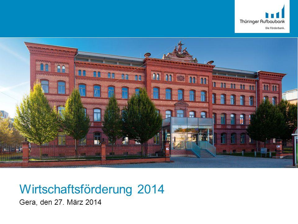 2 I.Die Thüringer Aufbaubank – Überblick II.Zuschüsse (1)Investitionsförderung (2) Aufbauhilfeprogramm Hochwasser (3)Förderung von Energieeffizienzmaßnahmen in KMU III.Darlehen / Bürgschaften (1)Zinsgünstige Weiterleitungsdarlehen (2)Bürgschaften IV.Beteiligungen / eigenkapitalähnliche Finanzierungen (1)Thüringen-Kapital Gliederung