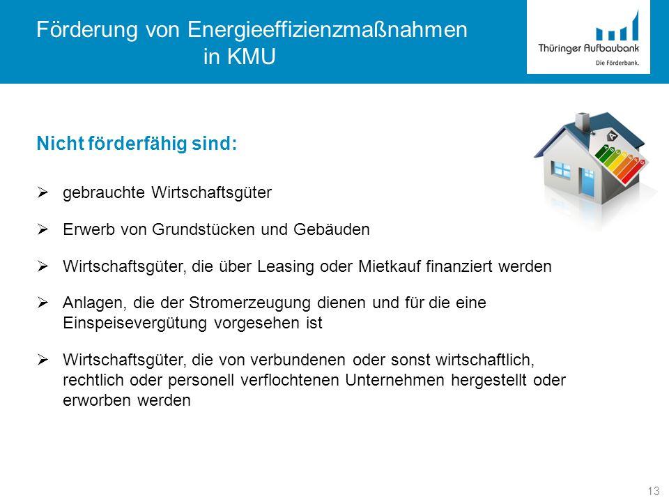 13 Förderung von Energieeffizienzmaßnahmen in KMU Nicht förderfähig sind: gebrauchte Wirtschaftsgüter Erwerb von Grundstücken und Gebäuden Wirtschafts