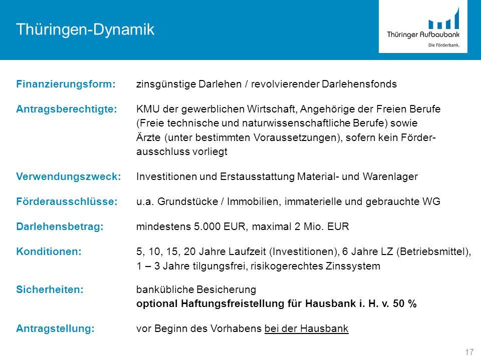17 Thüringen-Dynamik Finanzierungsform:zinsgünstige Darlehen / revolvierender Darlehensfonds Antragsberechtigte:KMU der gewerblichen Wirtschaft, Angeh
