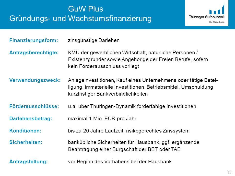 18 GuW Plus Gründungs- und Wachstumsfinanzierung Finanzierungsform:zinsgünstige Darlehen Antragsberechtigte:KMU der gewerblichen Wirtschaft, natürlich