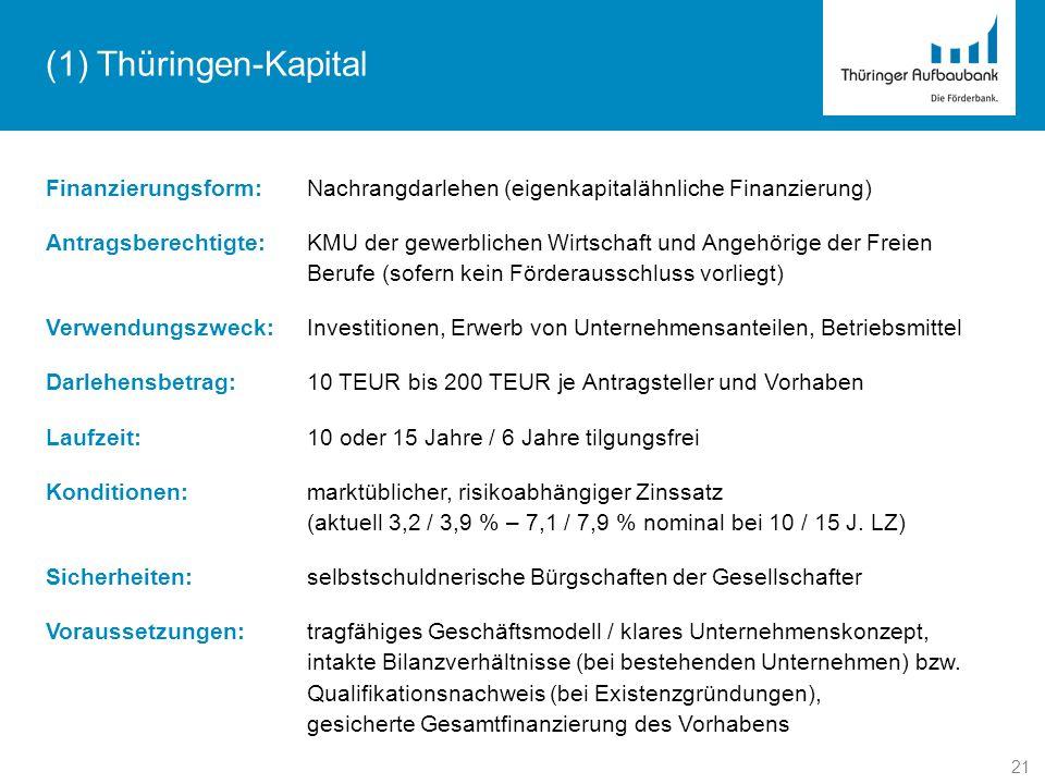 21 (1) Thüringen-Kapital Finanzierungsform:Nachrangdarlehen (eigenkapitalähnliche Finanzierung) Antragsberechtigte:KMU der gewerblichen Wirtschaft und