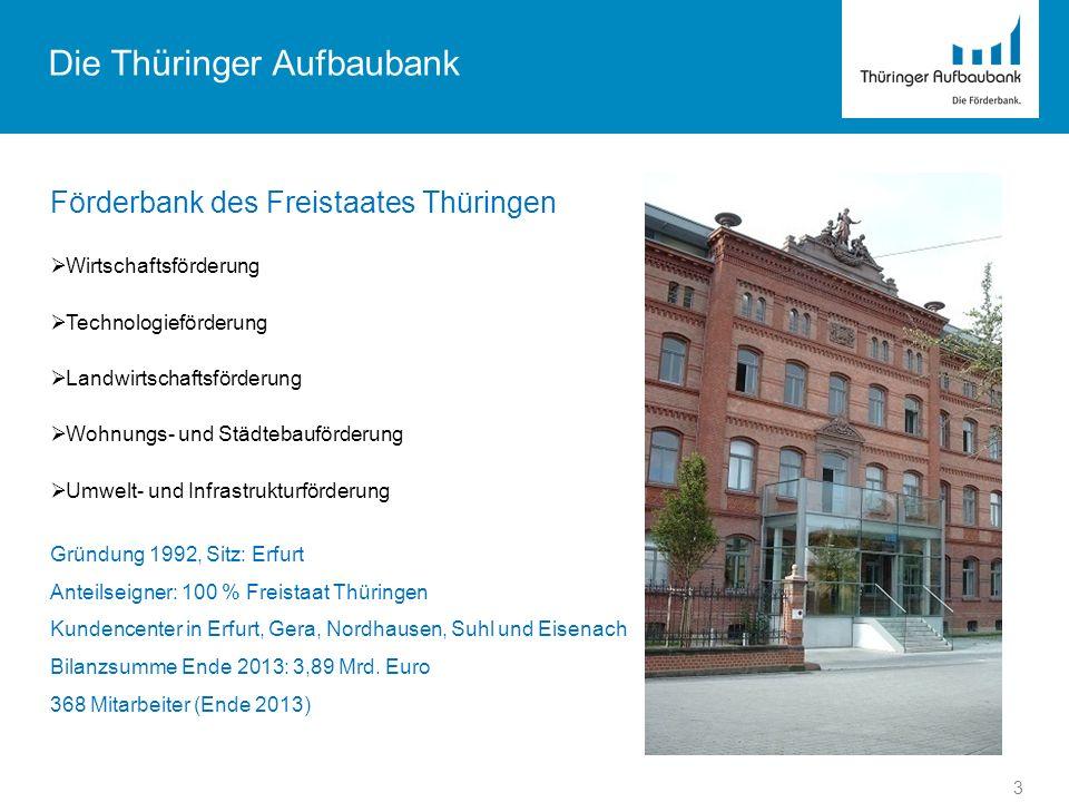 Die Thüringer Aufbaubank Förderbank des Freistaates Thüringen Wirtschaftsförderung Technologieförderung Landwirtschaftsförderung Wohnungs- und Städteb