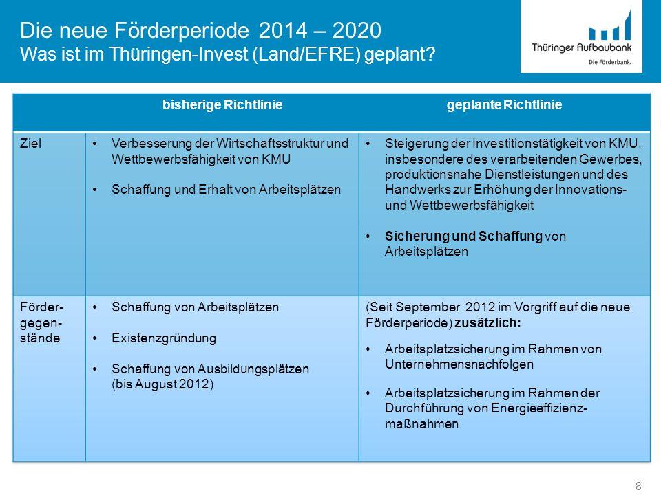Die neue Förderperiode 2014 – 2020 Was ist im Thüringen-Invest (Land/EFRE) geplant? 9