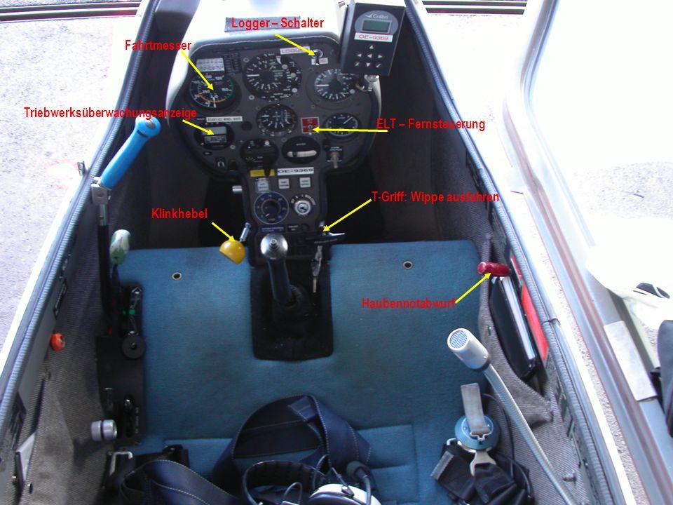 Fahrtmesser Logger – Schalter Triebwerksüberwachungsanzeige ELT – Fernsteuerung Klinkhebel T-Griff: Wippe ausfahren Haubennotabwurf