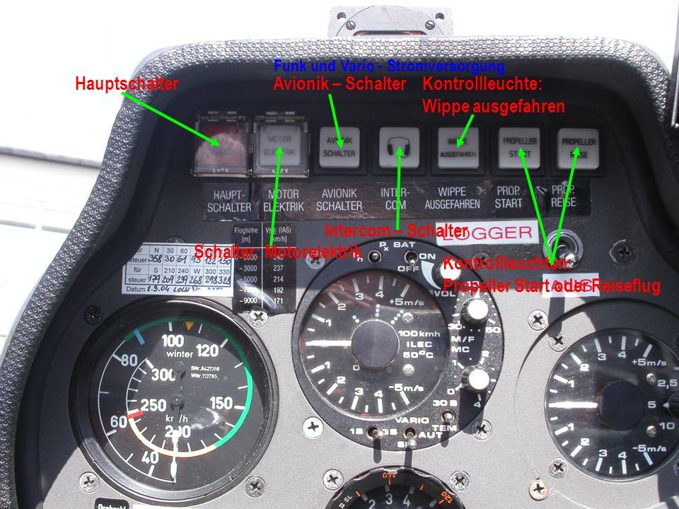 Hauptschalter Schalter: Motorelektrik Avionik – Schalter Funk und Vario - Stromversorgung Intercom – Schalter Kontrollleuchte: Wippe ausgefahren Kontrollleuchten: Propeller Start oder Reiseflug