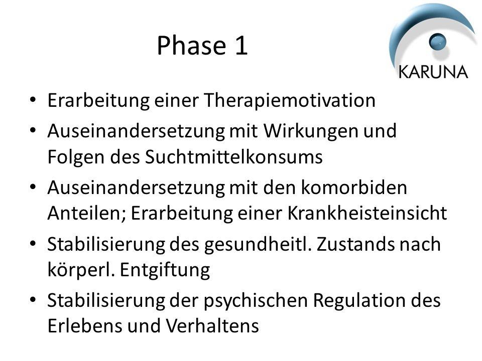 Phase 1 Erarbeitung einer Therapiemotivation Auseinandersetzung mit Wirkungen und Folgen des Suchtmittelkonsums Auseinandersetzung mit den komorbiden
