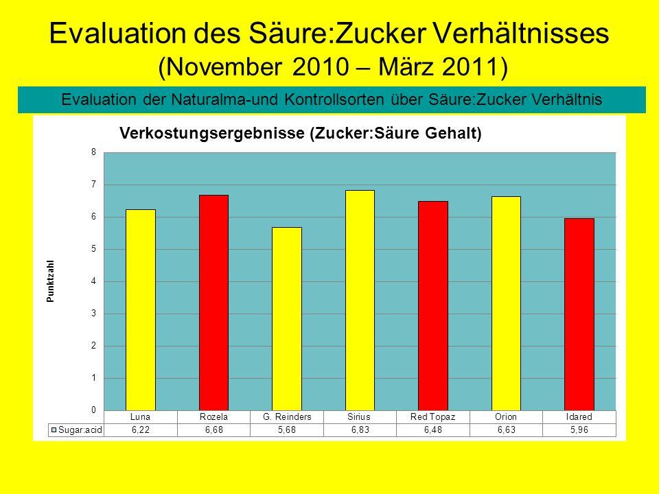 Evaluation des Säure:Zucker Verhältnisses (November 2010 – März 2011) Evaluation der Naturalma-und Kontrollsorten über Säure:Zucker Verhältnis
