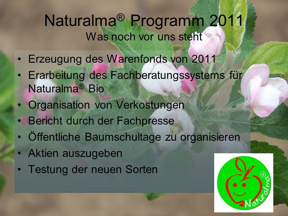 Naturalma ® Programm 2011 Was noch vor uns steht Erzeugung des Warenfonds von 2011 Erarbeitung des Fachberatungssystems für Naturalma ® Bio Organisation von Verkostungen Bericht durch der Fachpresse Öffentliche Baumschultage zu organisieren Aktien auszugeben Testung der neuen Sorten