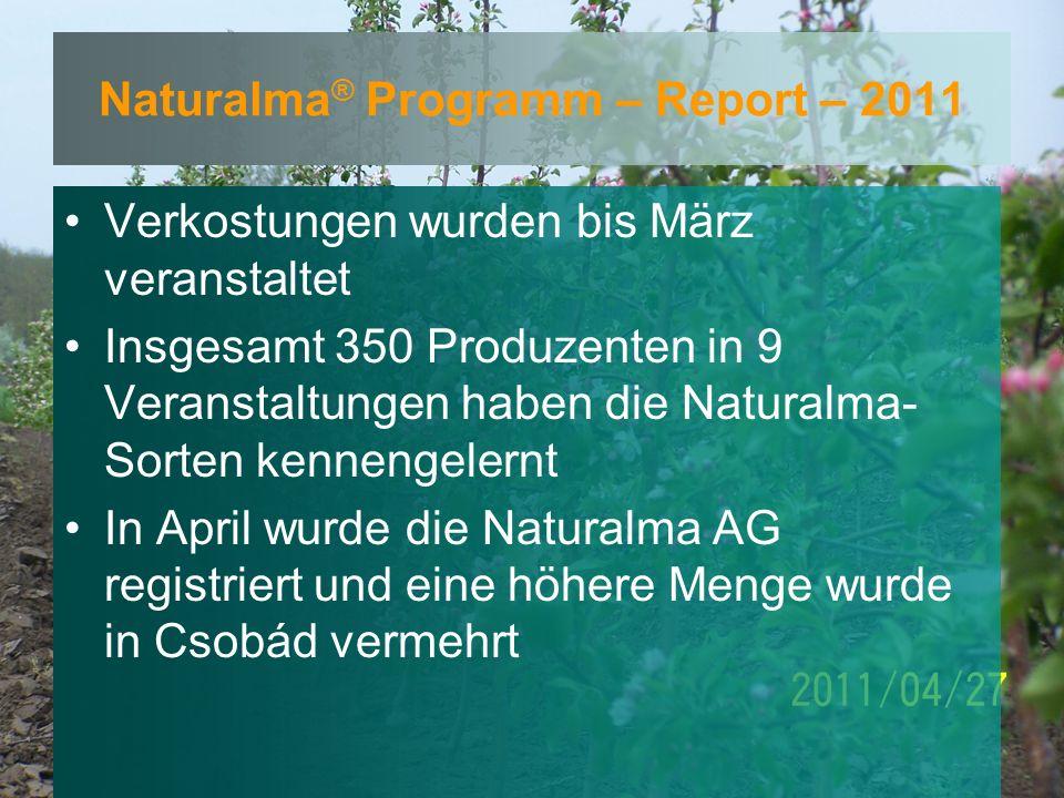 Naturalma ® Programm – Report – 2011 Verkostungen wurden bis März veranstaltet Insgesamt 350 Produzenten in 9 Veranstaltungen haben die Naturalma- Sorten kennengelernt In April wurde die Naturalma AG registriert und eine höhere Menge wurde in Csobád vermehrt
