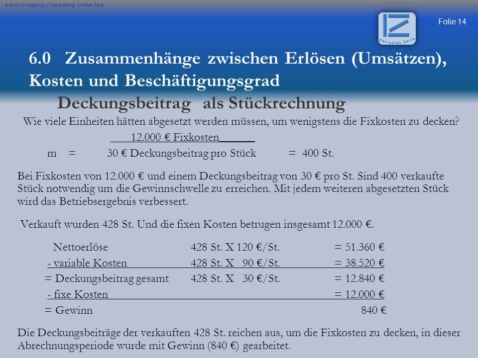 Folie 14 © Skript IHK Augsburg in Überarbeitung Christian Zerle Wie viele Einheiten hätten abgesetzt werden müssen, um wenigstens die Fixkosten zu dec