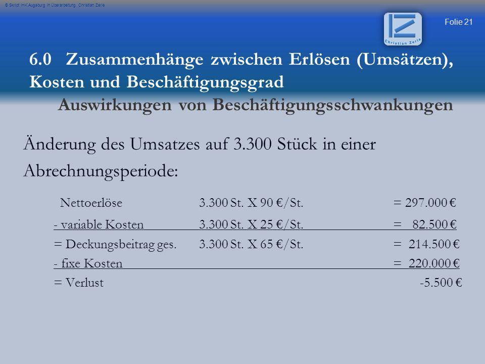 Folie 21 © Skript IHK Augsburg in Überarbeitung Christian Zerle Änderung des Umsatzes auf 3.300 Stück in einer Abrechnungsperiode: Nettoerlöse3.300 St