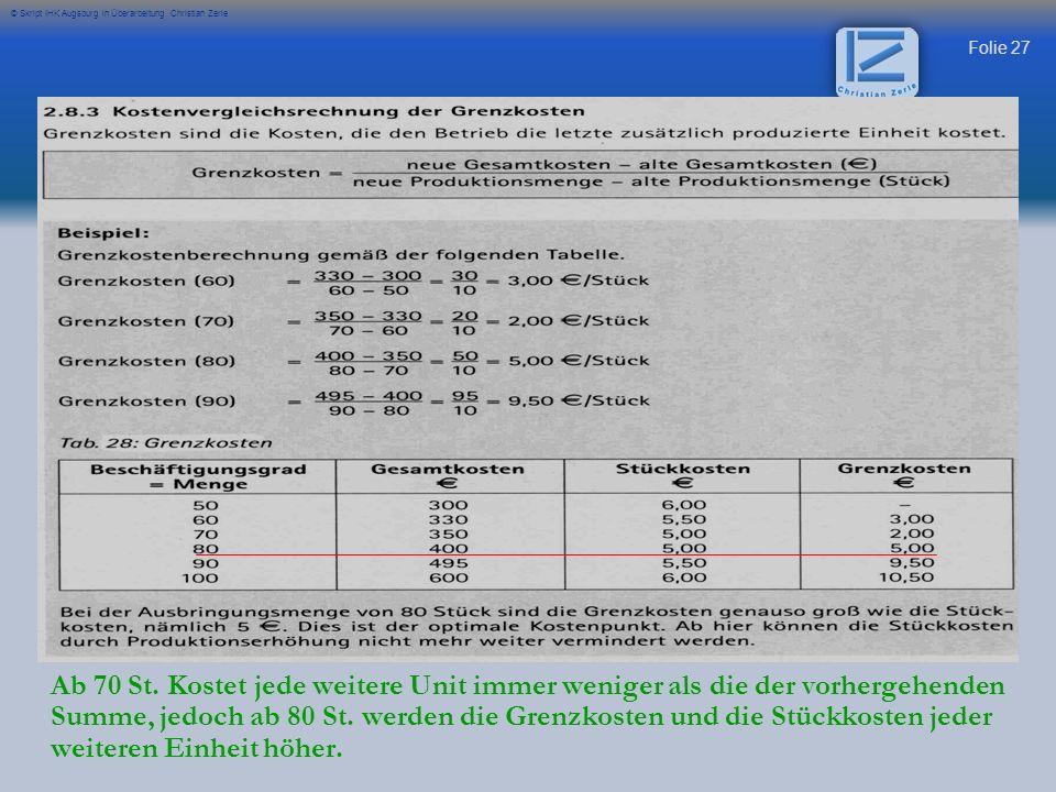 Folie 27 © Skript IHK Augsburg in Überarbeitung Christian Zerle Ab 70 St. Kostet jede weitere Unit immer weniger als die der vorhergehenden Summe, jed