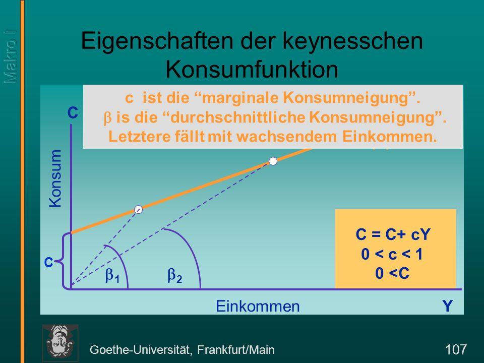 Goethe-Universität, Frankfurt/Main 108 Fallende Konsumneigung und säkulare Stagnation.