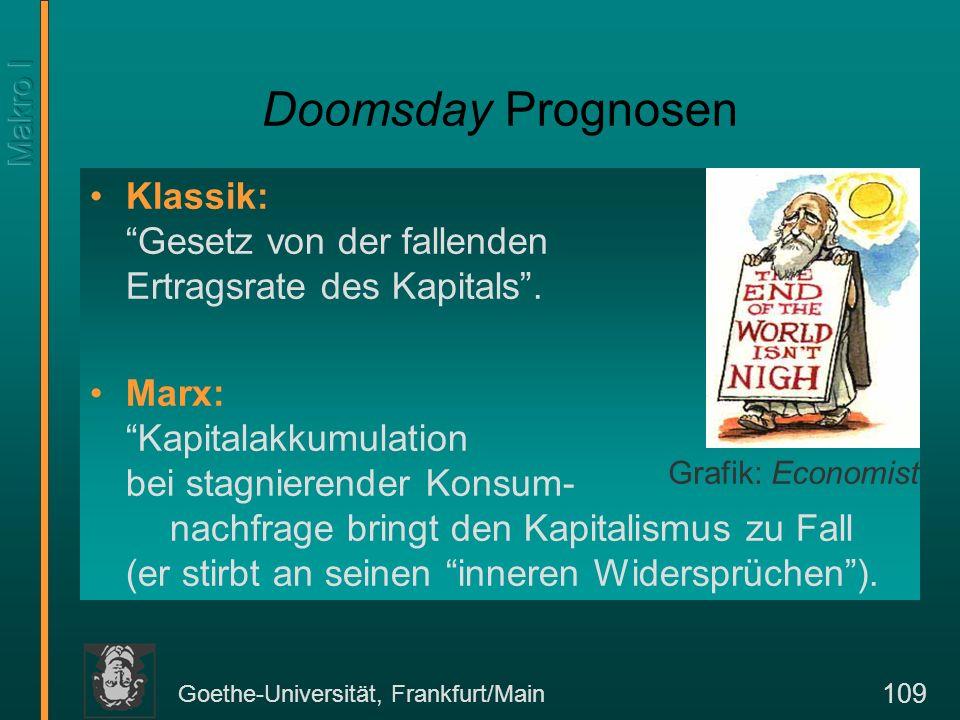 Goethe-Universität, Frankfurt/Main 110 Simon Kuznets: Das Konsumrätsel C YEinkommen Konsum Die langfristige Konsumfuntion (konstante Konsumneigung) C L (Y) C K (Y) Die kurzfristige Konsumfunktion (fallende Konsumneigung) Simon Kuznets 1901-85.