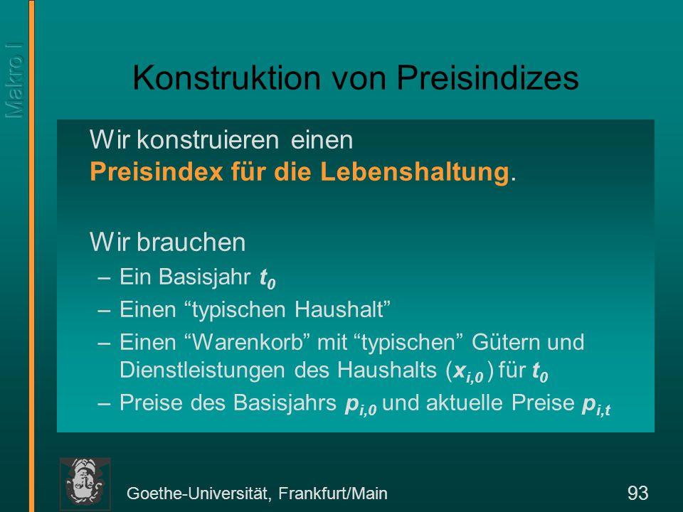 Goethe-Universität, Frankfurt/Main 94 Zwei Typen von Preisindizes Bei festen Gewichten x i,0 sprechen wir von einem Laspeyres-Index.