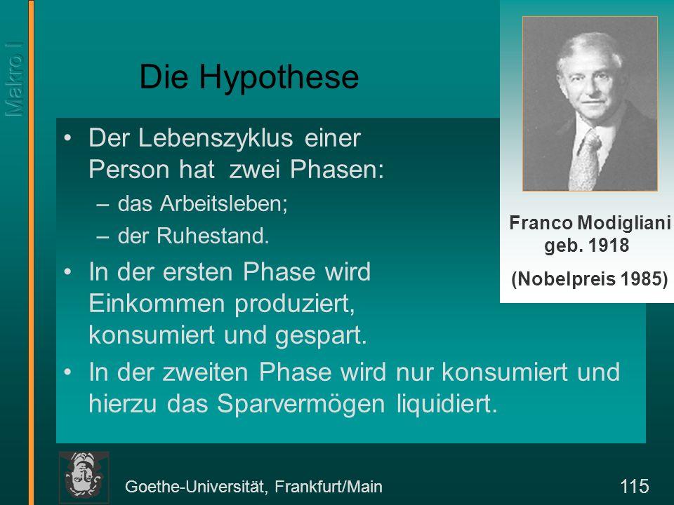 Goethe-Universität, Frankfurt/Main 116 Lebenszyklushypothese: Ein Beispiel Angenommen, ein Individuum arbeite 30 Jahre lang (vom 30.
