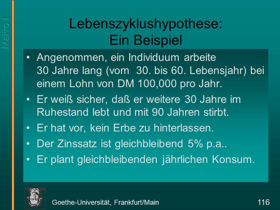 Goethe-Universität, Frankfurt/Main 117 Lebenszyklushypothese im Beispiel Maximalpunkt: DM1.250.000 Vermögensbildung im Lebenszyklus in 1000 DM Vermögen in 1.000DM Ökonomisches Alter