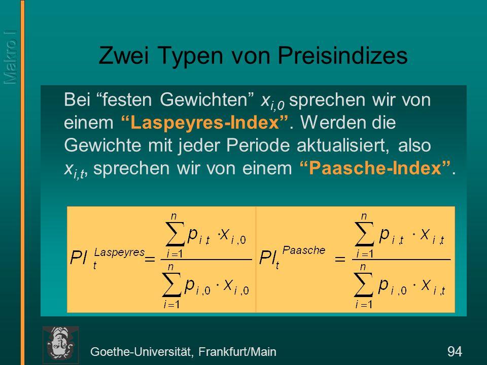 Goethe-Universität, Frankfurt/Main 95 Gründe –Substitutionsverzerrung –Auftreten neuer Produkte und Dienste –Qualitätsverbesserungen Daher die verkettete Methode in den USA.