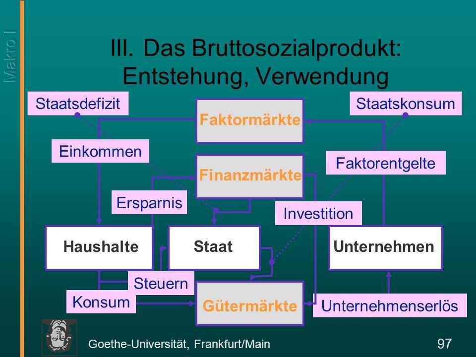 Goethe-Universität, Frankfurt/Main 98 Die Produktion Wir erinnern uns an die Produktions-faktoren in der Mikroökonomie L und K.