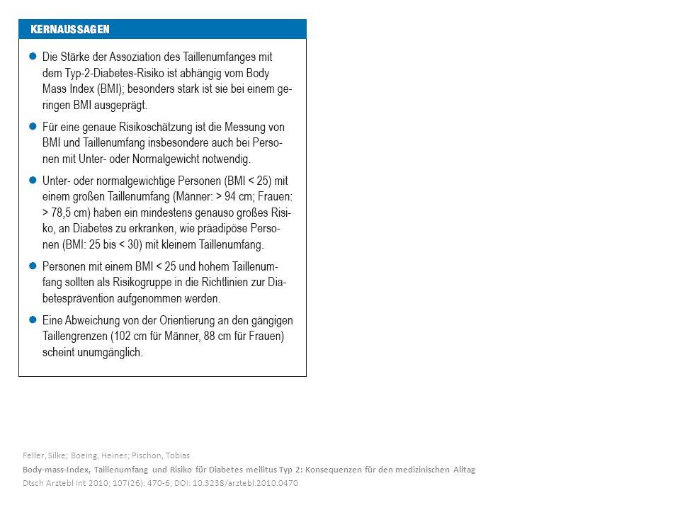 Feller, Silke; Boeing, Heiner; Pischon, Tobias Body-mass-Index, Taillenumfang und Risiko für Diabetes mellitus Typ 2: Konsequenzen für den medizinischen Alltag Dtsch Arztebl Int 2010; 107(26): 470-6; DOI: 10.3238/arztebl.2010.0470