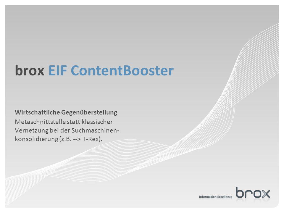 brox EIF ContentBooster Wirtschaftliche Gegenüberstellung Metaschnittstelle statt klassischer Vernetzung bei der Suchmaschinen- konsolidierung (z.B. -