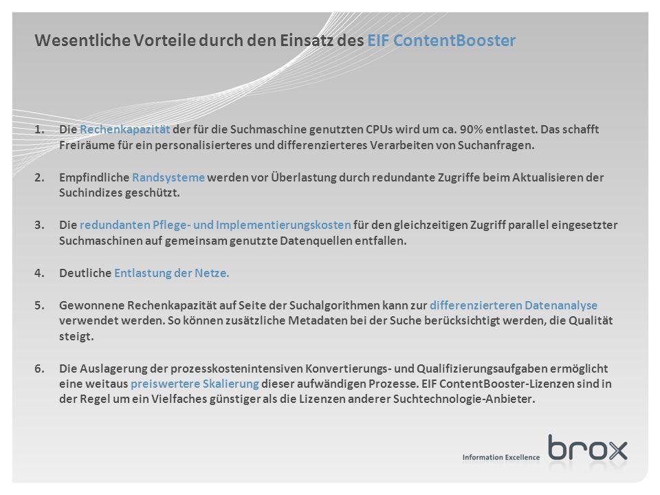 Wesentliche Vorteile durch den Einsatz des EIF ContentBooster 1.Die Rechenkapazität der für die Suchmaschine genutzten CPUs wird um ca. 90% entlastet.