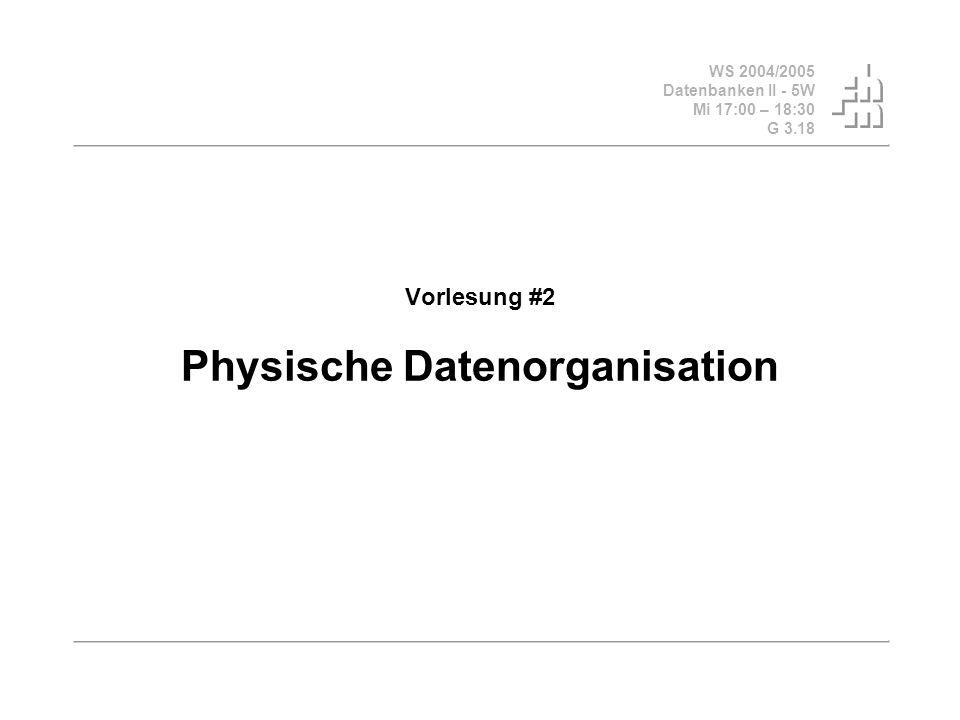 WS 2004/2005 Datenbanken II - 5W Mi 17:00 – 18:30 G 3.18 © Bojan Milijaš, 20.10.2004Vorlesung #2 - Physische Datenorganization2 Fahrplan Einführung und Motivation Trennung der logischen und der physischen Ebene einer Datenbank Speichermedien (Platten, RAID usw.), Speicherhierarchien (Cache, Hauptspeicher, Hintergrundsspeicher usw.) Abbildung von Relationen auf den Hintergrundsspeicher Indexstrukturen (Algorithmen und Datenstrukturen!) ISAM B-Bäume Hashing Clustering (Ballung) Unterstützung eines Anwendungsverhaltens Physische Datenorganisation in SQL Fazit und Ausblick Vorlesung #3