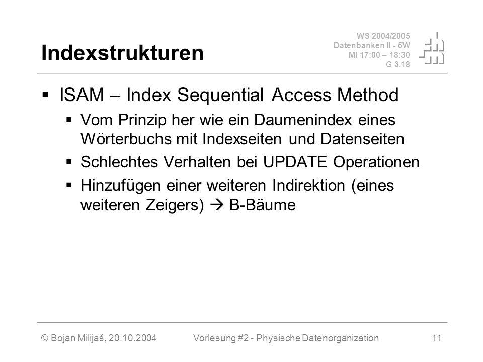WS 2004/2005 Datenbanken II - 5W Mi 17:00 – 18:30 G 3.18 © Bojan Milijaš, 20.10.2004Vorlesung #2 - Physische Datenorganization11 Indexstrukturen ISAM