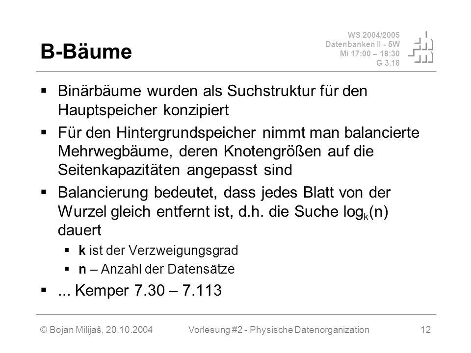 WS 2004/2005 Datenbanken II - 5W Mi 17:00 – 18:30 G 3.18 © Bojan Milijaš, 20.10.2004Vorlesung #2 - Physische Datenorganization12 B-Bäume Binärbäume wu