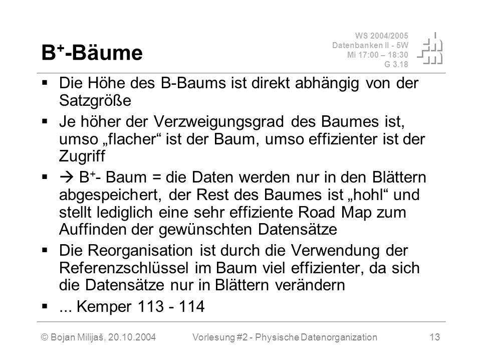 WS 2004/2005 Datenbanken II - 5W Mi 17:00 – 18:30 G 3.18 © Bojan Milijaš, 20.10.2004Vorlesung #2 - Physische Datenorganization13 B + -Bäume Die Höhe d